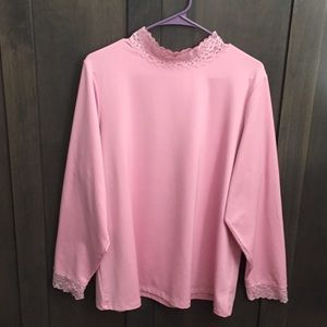 Susan Graver Pink Top w/Lace at Neck & Sleeves
